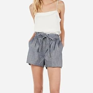 High Waisted Sash Tie Shorts